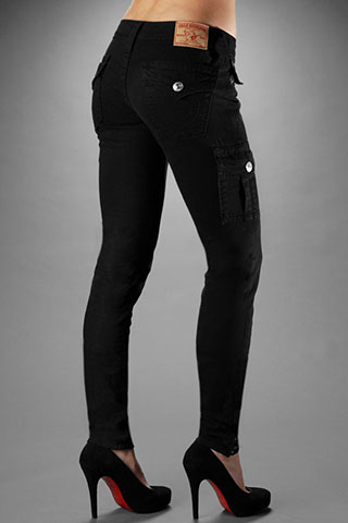 True Religion Women's Krista Super Skinny Cargo Legging - Black