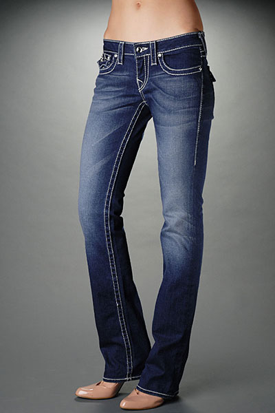 True Religion Womens Straight Leg Jeans